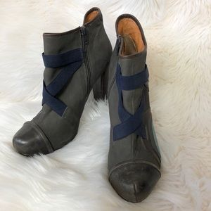 Top Shop Ankle Boot Round Toe Gray Teal Brown Blue